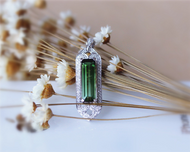 14K White Gold Emerald Cut Natural Brazil Tourmaline Pendant Luxurious Pendant Jewlery( link ONLY for pendant)