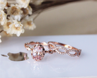 6x8mm Oval Morganite Ring Set Solid 14K Rose Gold  Morganite Engagement Ring Set Wedding Ring Set