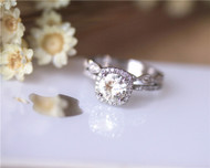 6.5mm Round Moissanite With Cushion Halo Engagement Ring Set Solid 14K White Gold Ring Set