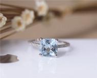 Birthstone Ring 8mm Cushion VS Aquamarine Ring Solid 14K White Gold Aquamarine Engagement Ring