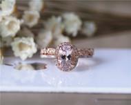 Engagement Ring Set Solid 14K Rose Gold Ring Set Morganite Ring Set Wedding Ring Set Promise Ring Set