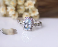 Fancy Marquise Style 6x8mm Oval Aquamarine Ring Solid 14K White Gold Aquamarine Engagement Ring