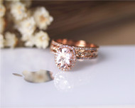 3PCS Engagement Ring Set Solid 14K Rose Gold Ring Set 6x8mm Oval Morganite Ring Set Promise Ring Set