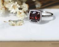 8mm Cushion Natural Garnet Ring Solid 14K White Gold Wedding Ring Engagement Ring Anniversary Ring