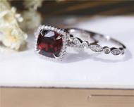 Engagement Ring Set 8mm Cushion Natural Garnet Ring Set Solid 14K White Gold Wedding Ring Set