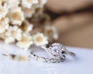 Fancy Solid 14K White Gold Ring Set 6mm Pink Morganite Ring Set Wedding Ring Set Bridal Ring Set