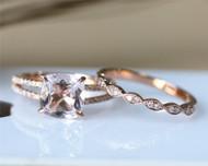 8mm Cushion Cut Morganite Ring Set Solid 14K Rose Gold Morganite Engagement Ring Set
