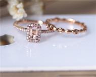 Engagement Ring Set 14K Rose Gold Morganite Wedding Ring Set Vintage Morganite Ring Set