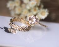Vintage Cushion Morganite Ring Set Solid 14K Yellow Gold  Morganite Engagement Ring Set