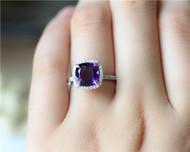 Diamonds Halo Natural Amethyst Ring 2.18ct Cushion Cut Ring Solid 14K White Gold Engagement Ring