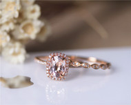 6x8mm Oval Morganite Ring Set Solid 14K Rose Gold Morganite Ring Set Wedding Ring Set Bridal Ring Set