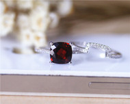 Engagement Ring Set 8mm Cushion Cut Natural Garnet Ring Set Solid 14K White Gold Ring Wedding Ring Set