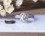 6x8mm Oval Moissanite Wedding Ring Set Solid 14K White Gold Ring Set Engagement Ring Set