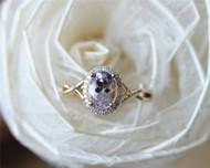 Pink Morganite Ring 6x8mm Solid 14K Yellow Gold Oval Morganite Engagement Ring Wedding Ring