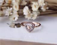 8mm Trillion Cut Morganite Ring Solid 14K Rose Gold Morganite Engagement Ring Wedding Ring