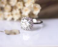 2ct Charles & Colvard Cushion Moissanite Engagement Ring Solid 14K White Gold Ring