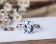 8x10mm Cushion Aquamarine Ring Solid 14K White Gold Aquamarine Engagement Ring Wedding Ring