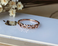 Wedding Band Solid 14K Rose Gold Diamond Band Half Eternity Promise Band Stackable Matching Band