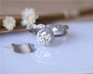 2 Rings Set Moissanite Engagement Ring Set Solid 14K White Gold Ring Set Wedding Ring Set