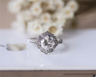 6.5mm Cushion Moissanite Engagement Ring Solid 14K White Gold Diamonds Moissanite Ring