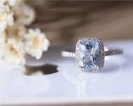 Pillow Cushion 6x8mm Aquamarine Ring Solid 14K White Gold Aquamarine Engagement Ring