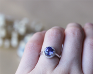 8mm Round Tanzanite Ring Solid 14K White Gold Wedding RingTanzanite Engagement Ring