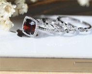 Birthday Gift! 8mm Cushion Natural Garnet Ring Set Solid 14K White Gold Wedding Ring Set