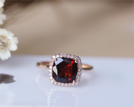 8mm Cushion Garnet Ring Solid 14K Rose Gold Wedding Ring Engagement Ring Anniversary Ring