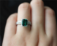 2PCS Emerald Ring Set Diamonds Ring Set Solid 14K White Gold Emerald Engagement Ring Set