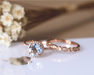 Valentine's Day Discount! 7mm Round Cut Aquamarine Ring Set Solid 14K Rose Gold Engagement