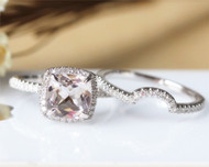 Cushion Cut Morganite Ring Set Solid 14K White Gold Morganite Engagement Ring Wedding Ring