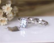 March Birthstone! Aquamarine Ring Set Solid 14K White Gold Aquamarine Engagement Ring Set
