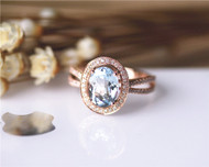 Art Deco Unique 7x9mm Natural Aquamarine Ring Solid 14K Rose Gold Aquamarine Engagement Ring