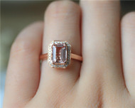 6x8mm Emerald Cut VS Pink Morganite Ring Wedding Ring Solid 14K Rose Gold Ring