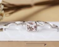 Cushion Cut Morganite Ring Set Solid 14K White Gold Morganite Engagement Ring