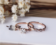 5mm Moissanite Engagement Ring Set Solid 14K Rose Gold Wedding Ring Set Moissanite Ring Set