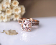 3PCS Engagement Ring Set Solid 14K Rose Gold Ring Set 7x9mm Oval Morganite Ring Set