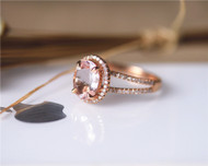 Pink 7x9mm Oval Morganite Ring Solid 14K Rose gold Morganite Engagement Ring Wedding Ring