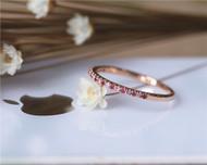 Birthday gift Natural Ruby Band Wedding Band Wedding Ring Solid 14K Rose Gold Ring Engagement Band