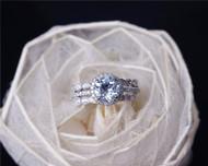 Valentine's Day Discount! 7mm Round Cut Aquamarine Ring Set Solid 14K White Gold Engagement