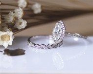 Marquise Moissanite Engagement Ring Set Solid 14K White Gold Diamonds Wedding Ring Set