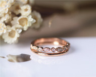 Matching Wedding Diamond Band Set Wedding Ring Set Solid 14K Rose Gold Diamond Engagement Set