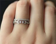 Diamonds Wedding Band Set Wedding Ring Set Solid 14K White Gold Diamond Engagement Set