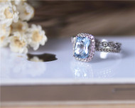 March Birthstone Ring Set Pillow Cushion Aquamarine Ring Set Solid 14K White Gold Ring Set