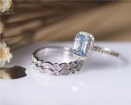 Surprising Ring Set! 3PCS Pillow Cushion Aquamarine Ring Set Solid 14K White Gold Engagement