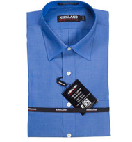 KIRKLAND SIGNATURE NON-IRON DRESS SHIRT SPREAD COLLAR