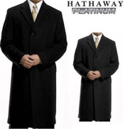 MEN'S HATHAWAY PLATINUM WOOL & CASHMERE BLEND TOP COAT OVERCOAT