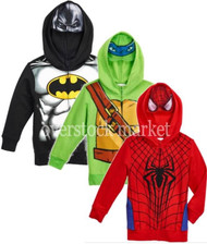 BOYS SUPERHERO CHARACTER FLEECE LINED HOODIE SWEATSHIRT W/ MASK!