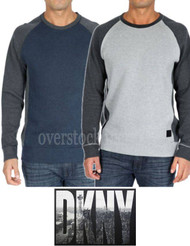 MEN'S DKNY JEANS COLOR BLOCK CREW NECK SWEATER RAGLAN PULLOVER SWEATER