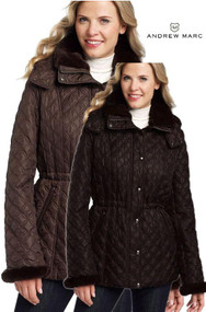 WOMENS MARC NEW YORK ANDREW MARC LISA QUILTED  FAUX FUR COATS